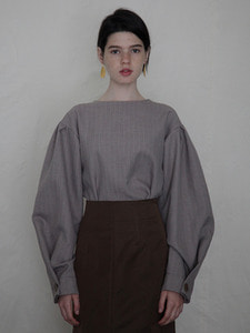 volume shirring top [beige]