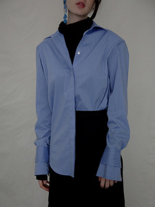 striped poplin shirt [sky blue]