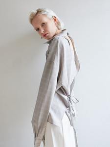 18ss back pointed shirts [grey]
