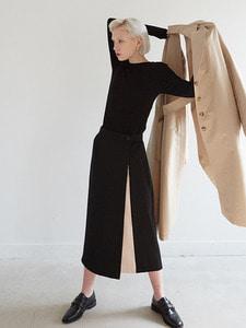 18ss two tone wrap skirt [2color]