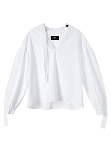 pleated cotton blouse [white]