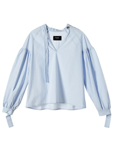 [reorder] pleated cotton blouse [sky blue]