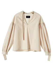 [reorder] pleated cotton blouse [beige]