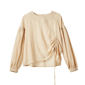shirred sleeve top [beige]