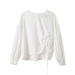 shirred sleeve top [white]