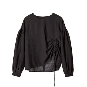 shirred sleeve top [black]