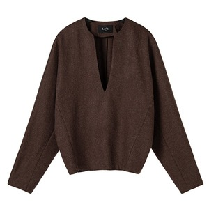 [1차 리오더] v-neck wool top [chocolate brown]