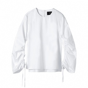 shirred poplin top [white]