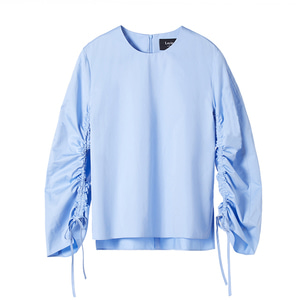 shirred poplin top [sky blue]