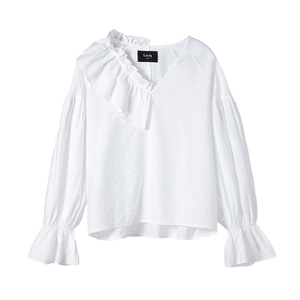 [3차 리오더] unbalance ruffle top [white]