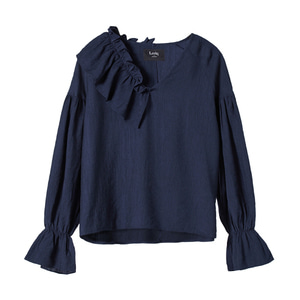 [2차 리오더] unbalance ruffle top [navy]