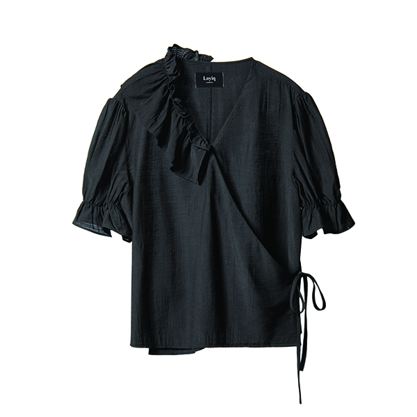 unbalance ruffle wrap top [black]