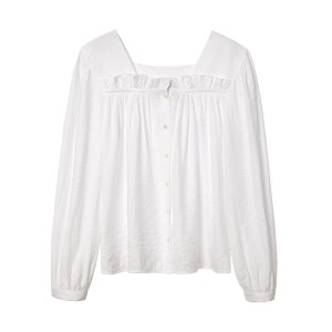ruffle trimmed crepe top [white]