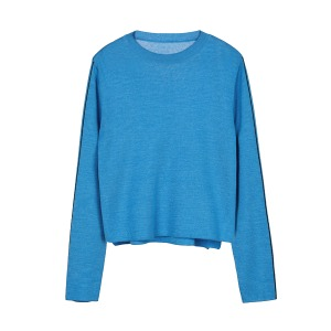 contrast knit [blue]