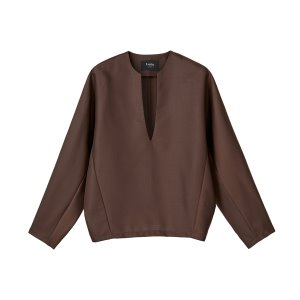 v-neck wool top [brown]