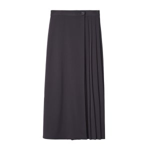 wrap pleats skirt [charcoal]