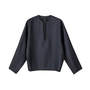 v-neck wool top [charcoal]