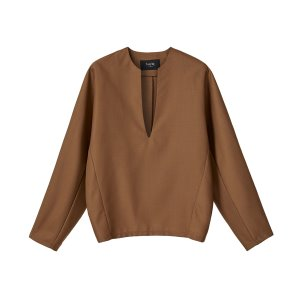 v-neck wool top [camel]