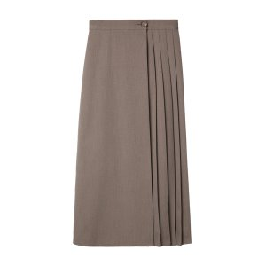 wrap pleats skirt [cocoa]