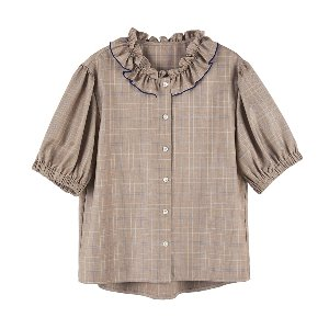 neck shirring blouse [beige]