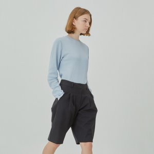 pin tuck bermuda pants (black)