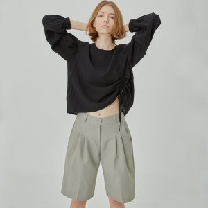 pin tuck bermuda pants (khaki)