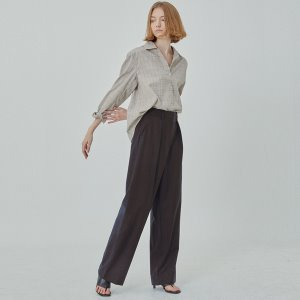 pin tuck slacks [dark brown]