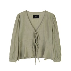 pleated ribbon blouse [olive]